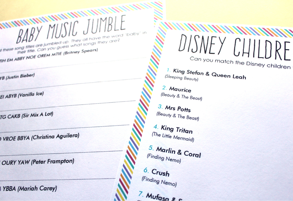 free printable disney baby shower games